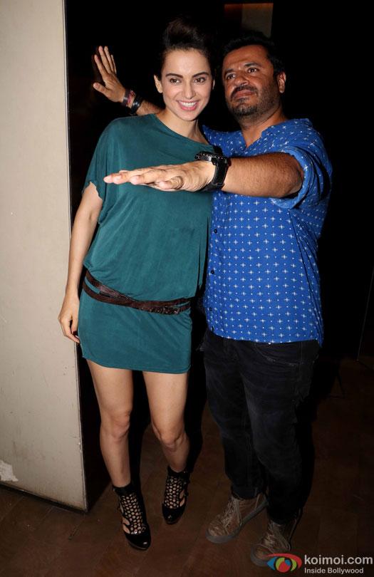 Kangana Ranaut and Vikas Bahl during the special screening of film 'Raman Raghav 2.0'