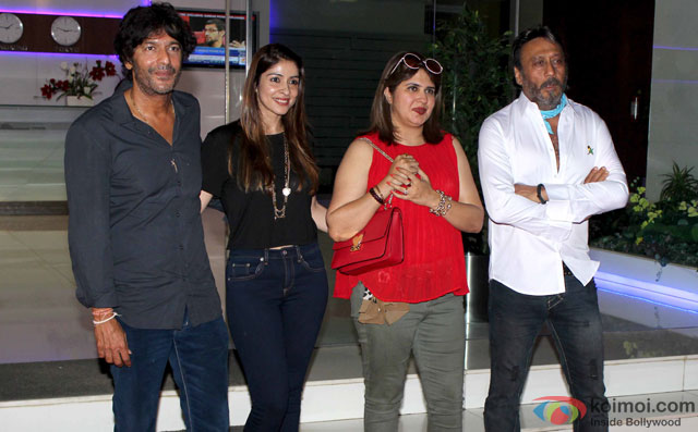 Chunky Pandey, Bhavna Pandey and Jackie Shroff during the party for 'Housefull 3' hosted by Sajid Nadiadwala