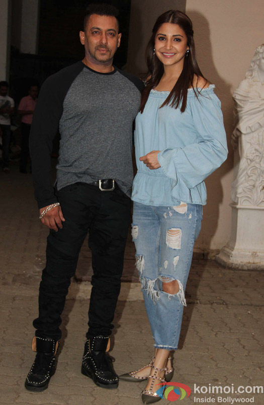 Salman Khan and Anushaka Sharma during during the press conference of movie Sultan