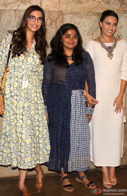 Sonam Kapoor and Swara Bhaskar during the special screening of film 'Nil Battey Sannata'