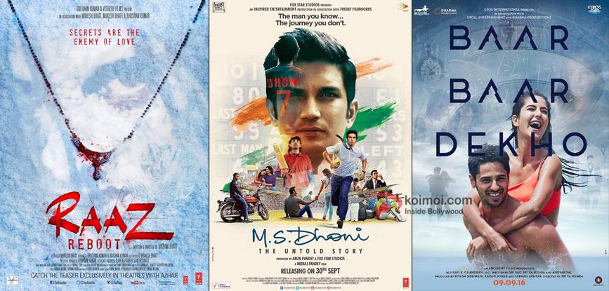 Raaz Reboot, M. S. Dhoni The Untold Story & Baar Baar Dekho