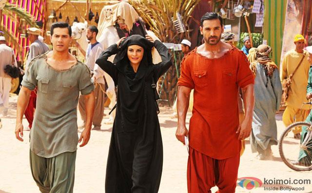 Varun Dhawan, Jacqueline Fernandez and John Abraham in a still from movie 'Dishoom'