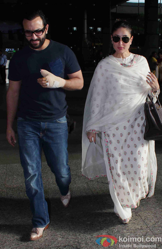 Saif Ali Khan and Kareena Kapoor Khan Spotted at Airport