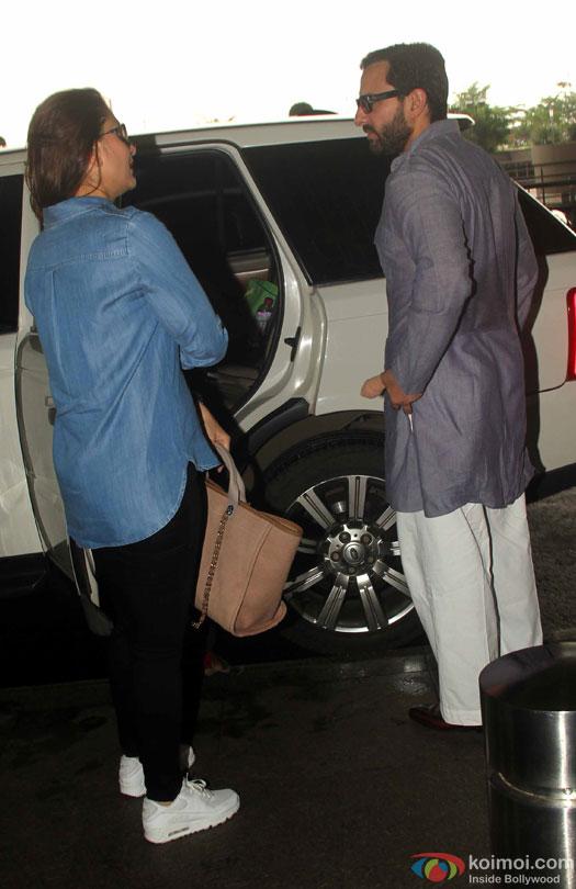 Kareena Kapoor Khan and Saif Ali Khan Spotted At Airport