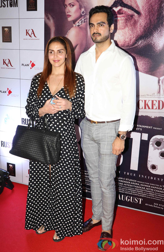 Esha Deol and Bharat Takhtani during the Rustom Screening