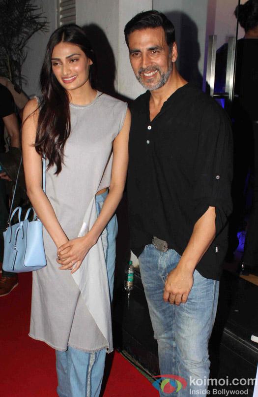 Athiya Shetty and Akshay Kumar during the Rustom Screening