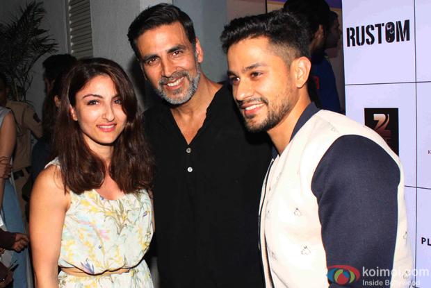 Soha Ali Khan, Kunal Khemu and Akshay Kumar during the Rustom Screening