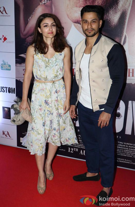 Soha Ali Khan and Kunal Khemu during the Rustom Screening