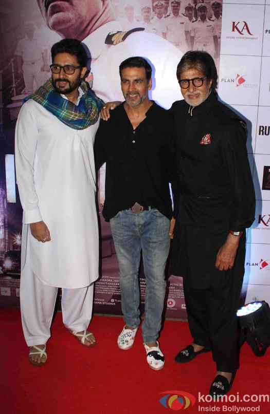 Abhishek Bachchan and Amitabh Bachchan during the Rustom Screening