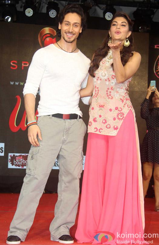 Tiger Shroff and Jacqueline Fernandez during the Promotion of film A Flying Jatt at Umang festival