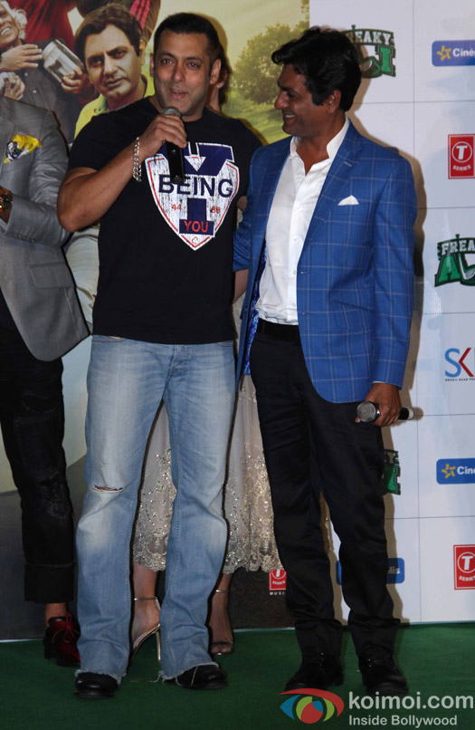 Salman Khan and Nawazuddin Siddiqui during the trailer launch of film Freaky Ali