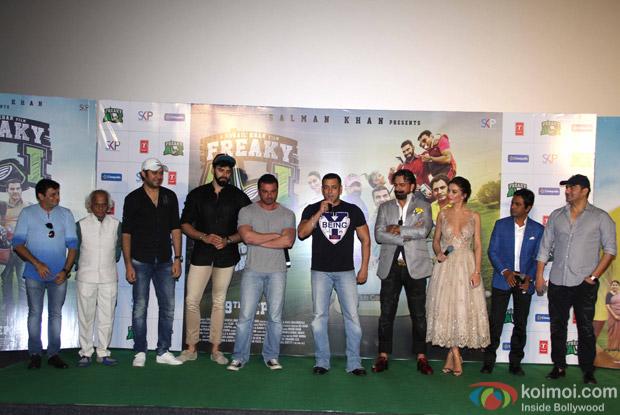 Salman Khan, Sohail Khan, Nawazuddin Siddiqui, Amy Jackson, Jas Arora and Arbaaz Khan during the trailer launch of film Freaky Ali