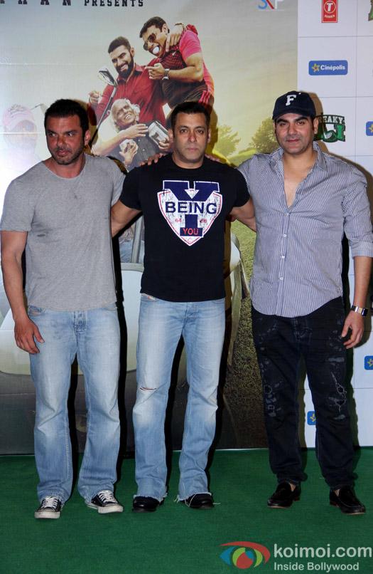 Salman Khan, Sohail Khan and Arbaaz Khan during the trailer launch of film Freaky Ali