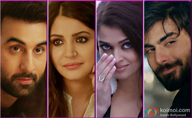 Ranbir Kapoor, Anushka Sharma, Aishwarya Rai Bachchan and Fawad Khan in a still from Ae Dil Hai Mushkil