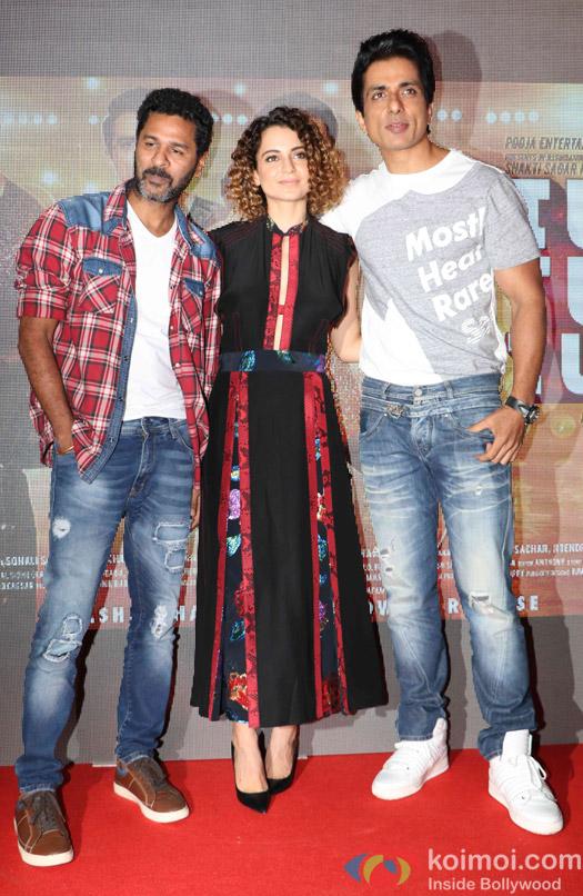 Kangana Ranut, Prabhu Deva and Sonu Sood during the launch of 'Tutak Tutak Tutiya' title track