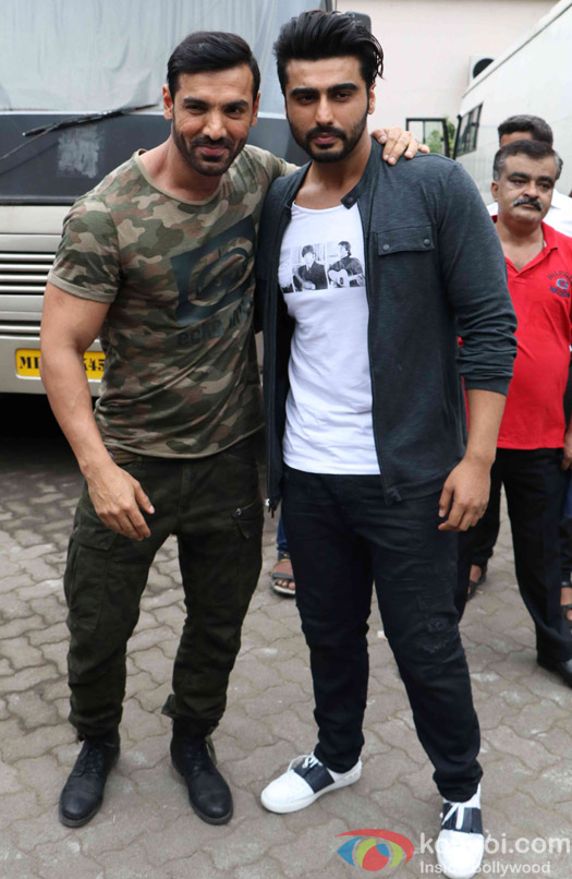 John Abraham and Arjun Kapoor spotted at Mehboob Studio