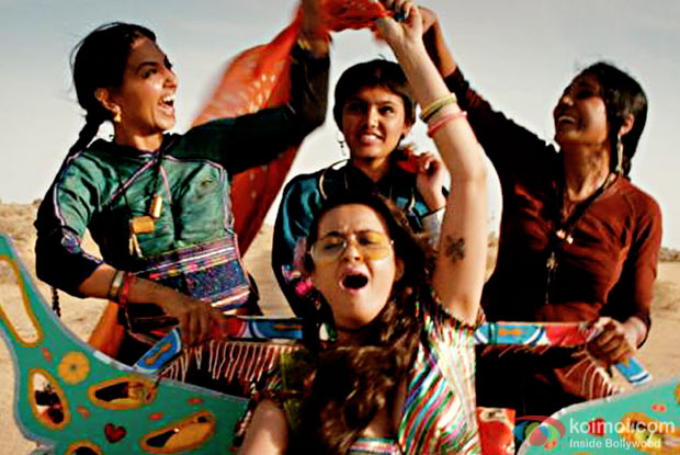 Radhika Apte, Surveen Chawla and Tannishtha Chatterjee in a still from Parched