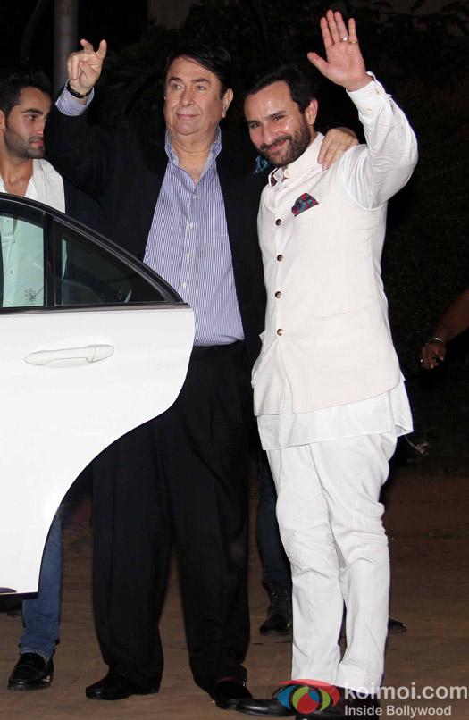 Randhir Kapoor and Saif Ali Khan during Rima Jain 60th birthday celebration