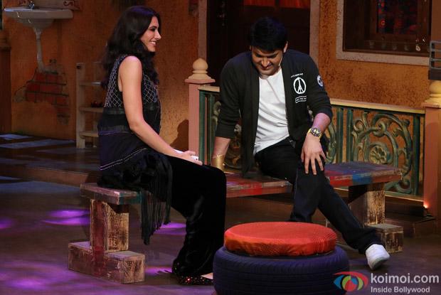 Nargis Fakhri on the sets of The Kapil Sharma Show