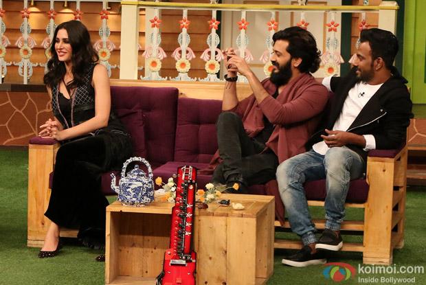 Ritesh Deshmukh, Nargis Fakhri and Dharmesh Yelande on the sets of The Kapil Sharma Show