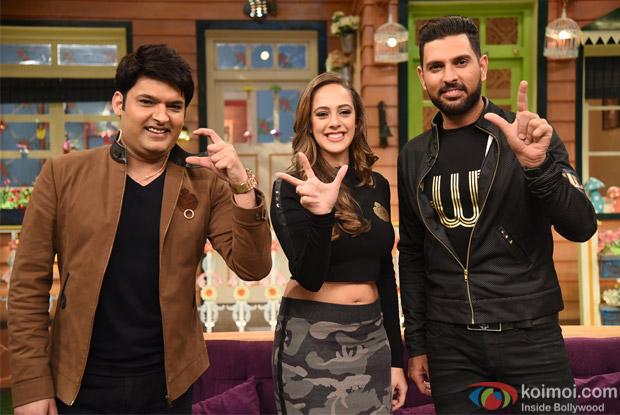 Yuvraj Singh & Hazel Keech On The Sets Of The Kapil Sharma Show
