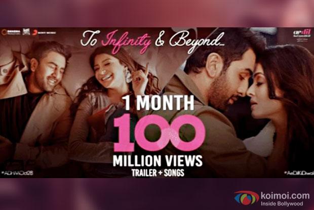 Ae Dil Hai Mushkil's Trailer And Songs Cross 100 Million Views On Youtube