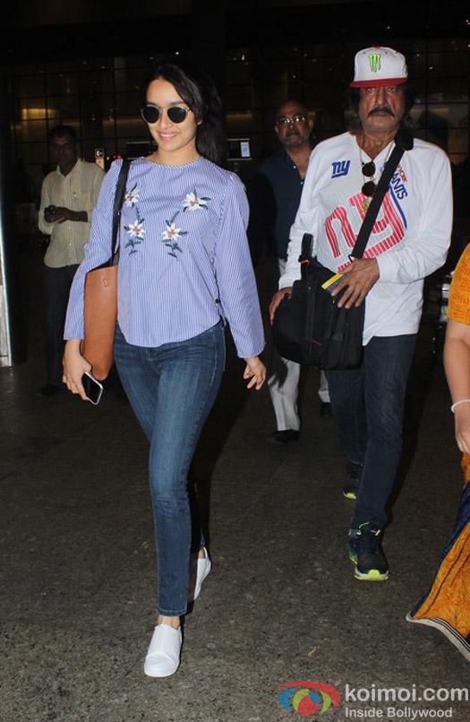 Shraddha Kapoor and Shakti Kapoor spotted at Airport