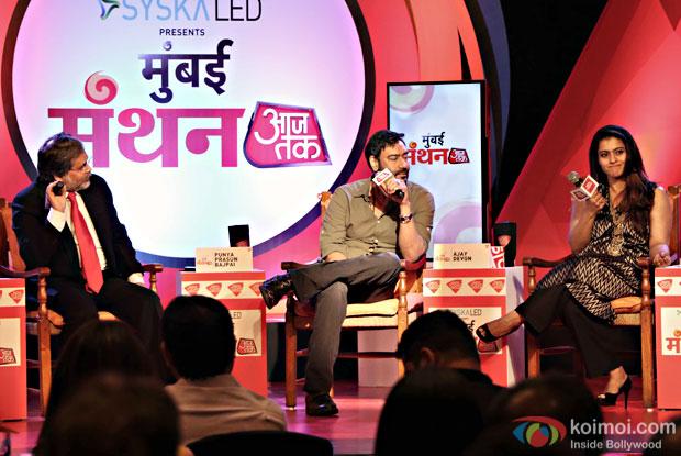 Ajay Devgan and Kajol at Manthan Aaj Tak