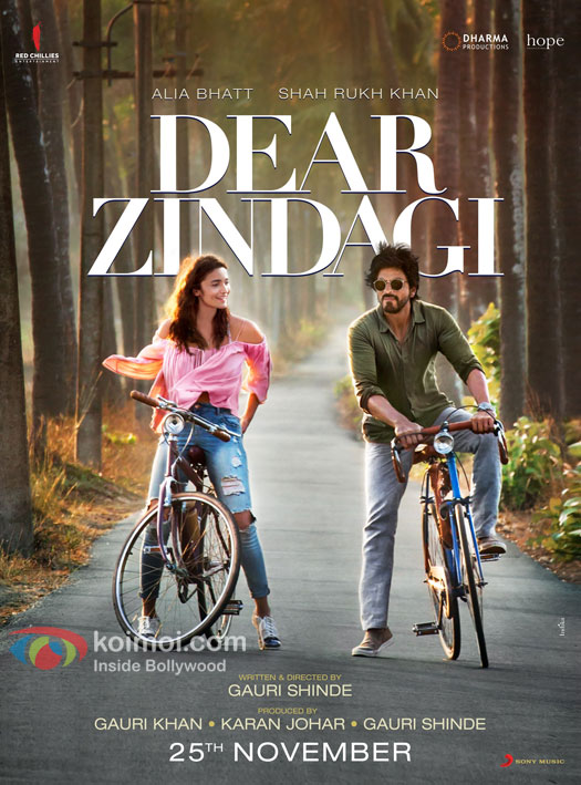 Alia Bhatt and Shah Rukh Khan ride off with Dear Zindagi Poster Out Now