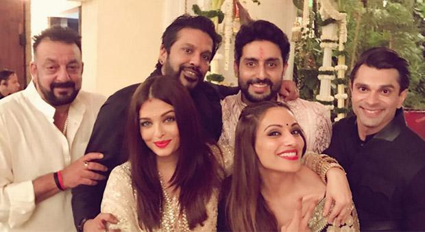 Sanjay Dutt, Aishwarya Rai Bachchan, Abhishek Bachchan, Karan Singh Grover and Bipasha Basu During The Amitabh Bachchan's Diwali party