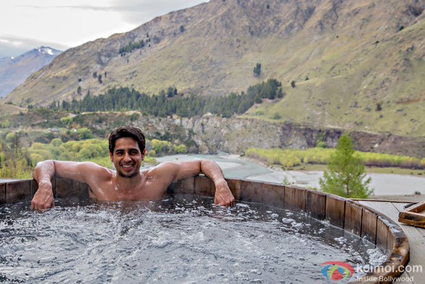 Sidharth Malhotra enjoying his time in a hot pool in Queenstown