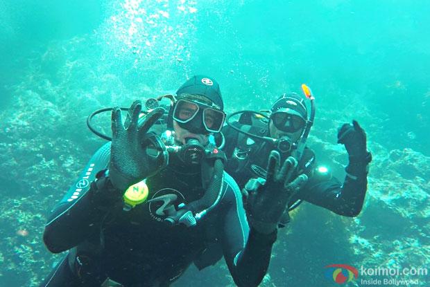 Sidharth Malhotra diving at Poor Knights Island