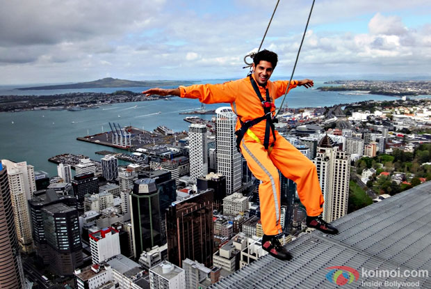 Sidharth Malhotra having fun on the Sky tower