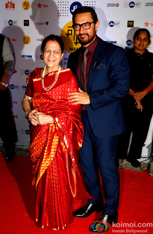 Aamir Khan with his mother Zeenat Hussain During The Jio MAMI 18th Mumbai Film Festival - Opening ceremony