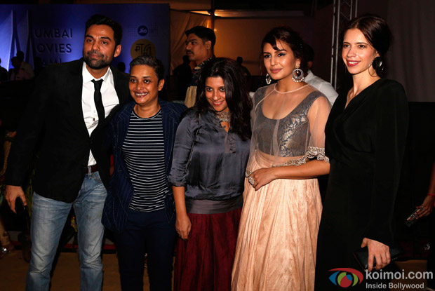 Abhay Deol, Reema Kagati, Zoya Akhtar, Huma Qureshi and Kalki Koechlin During The Jio MAMI 18th Mumbai Film Festival - Opening ceremony