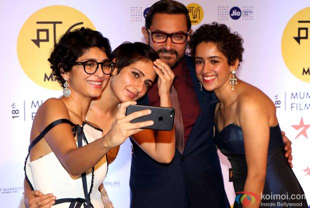 Fatima Sana Shaikh, Sanya Malhotra, Kiran Rao and Aamir Khan During The Jio MAMI 18th Mumbai Film Festival - Opening ceremony
