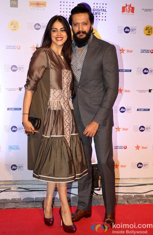 Riteish Deshmukh and Genelia D'Cruza During The Jio MAMI 18th Mumbai Film Festival - Opening ceremony