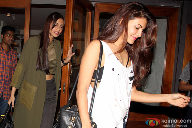 Sonam Kapoor and Jacqueline Fernandez spotted at Cafe Juice Bar