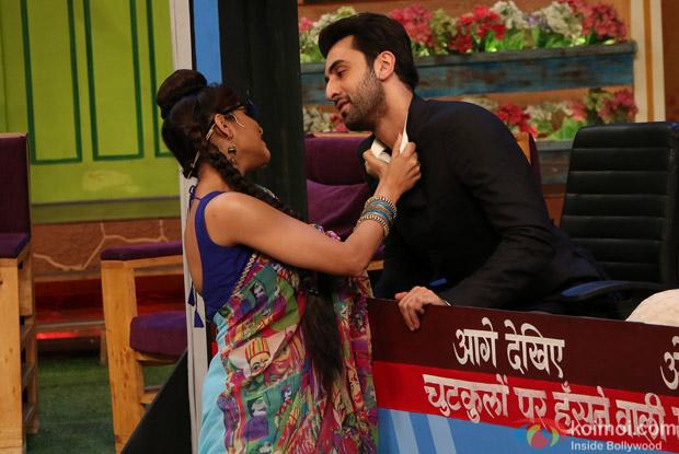 Ranbir Kapoor, Aishwarya Rai Bachchan and Anushka Sharma on the sets of The Kapil Sharma Show