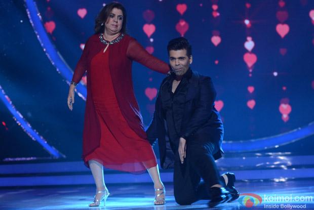 Karan Johar and Farah Khan on the sets of Jhalak Dikhhla Jaa