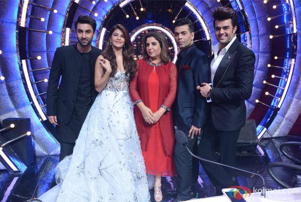 Jacqueline Fernandez, Farah Khan, Karan Johar, Manish Paul and Ranbir Kapoor on the sets of Jhalak Dikhhla Jaa
