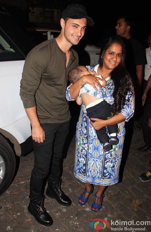Arpita Khan with son Ahil Sharma at Aayush Sharma's Birthday Party