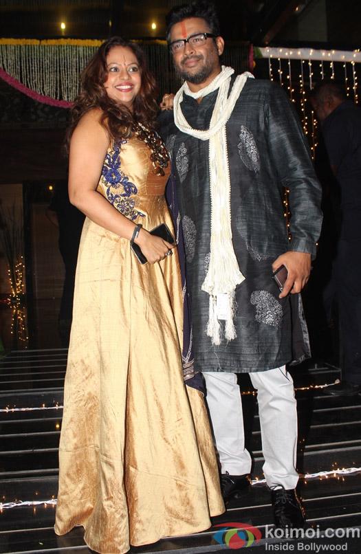 R Madhavan along with his wife Sarita Birje during Aamir Khan's Diwali celebration