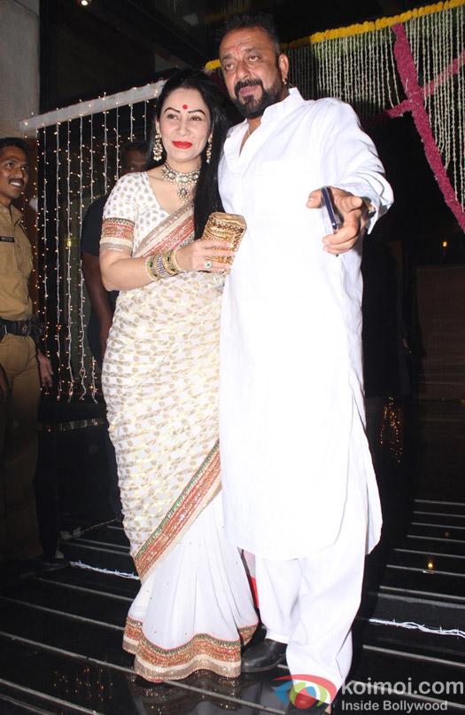 Sanjay Dutt and Manyata Dutt during Aamir Khan's Diwali celebration