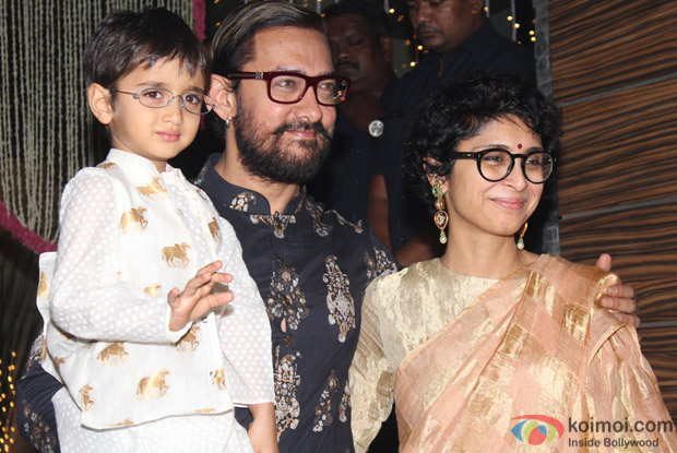 Aamir Khan along with his wife Kiran Rao and son Azad Rao Khan during Diwali celebration