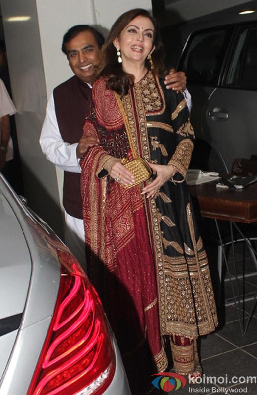 Mukesh Ambani and Nita during Aamir Khan's Diwali celebration