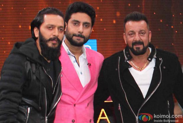 Riteish Deshmukh, Abhishek bachchan and Sanjay Dutt on the sets of Yaaron Ki Baraat