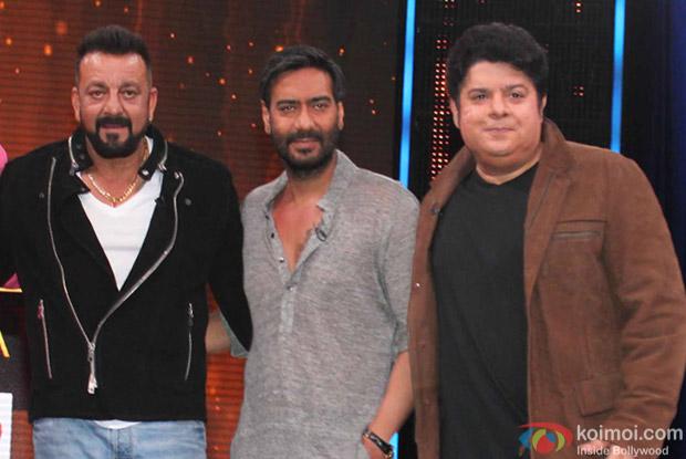 Ajay Devgan, Sajid Khan and Sanjay Dutt on the sets of Yaaron Ki Baraat