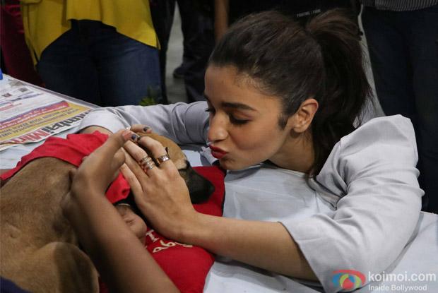 Alia Bhatt during the pups and kitten adoption camp