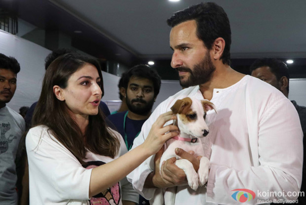 Saif Ali Khan and Soha Ali Khan during the pups and kitten adoption camp
